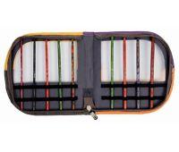 """10849 KnitPro Органайзер """"Volga Series"""" для крючков 37*19 см искуственная кожа, желтый/оранжевый/серый/фиолетовый (без содержимого)"""