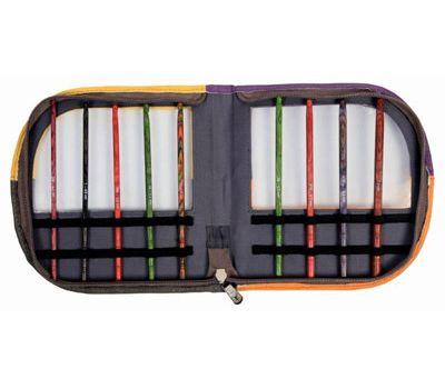 """10849 KnitPro Органайзер """"Volga Series"""" для крючков 37*19 см искуственная кожа, желтый/оранжевый/серый/фиолетовый (без содержимого), 10849"""