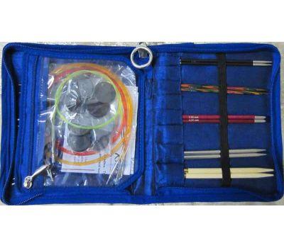 """Knit Pro Набор съемных спиц (в наборе: органайзер """"Glory"""", спицы съемные (Karbonz 3мм - карбон, Symfonie 3,5мм - дерево, Royale 4мм - ламинированная береза, Nova Metal 4,5мм - никелированная латунь, Bamboo 5мм - бамбук, Nova Cubics  5,5мм - нике"""