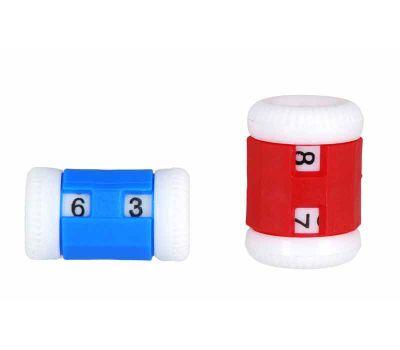 10816 Knit Pro Счетчик рядов (маленький 2-5мм, большой 4,5-6,5мм), пластик, синий/красный, 2шт в наборе, 10816