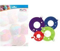 """10871 Knit Pro Набор для изготовления помпонов """"Rejoice"""" 3,5см, 5,5см, 7см, 9см, пластик, красный/зеленый/розовый/синий, 4шт в наборе"""