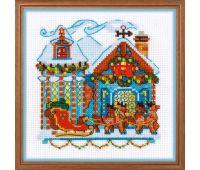 """1661 Набор для вышивания """"Риолис"""" Домик с санями 15*15 см"""