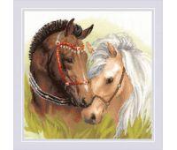 """1864 Набор для вышивания """"Риолис"""" Пара лошадей 40х40 см"""