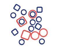"""45514 Knit Pro Набор маркеров для вязания """"Linea"""" (в наборе: круглые 10мм - 10шт, круглые 6мм - 10шт, квадратные 10мм - 10шт, квадратные 6мм - 10шт), сталь, 40шт в наборе"""