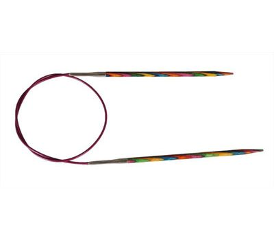 """80/3,00 Knit Pro Спицы круговые укороченные """"Symfonie"""" 3мм/80см  ламинированная береза, многоцветный, 20335"""