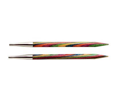"""4,00/20 Knit Pro Съемные спицы укороченные """"Symfonie"""" 4,0мм для длины тросика 20см, ламинированная береза, многоцветный, 2шт в упаковке, 20424"""