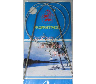 Спицы круговые на МЕТАЛЛИЧЕСКОМ тросике, с никелевым покрытием, длина 80см №3 , 80-3