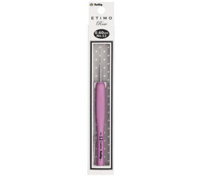"""0,60 TULIP Крючок для вязания с ручкой """"ETIMO Rose"""" 0,6мм, сталь/пластик, золотистый/серебристый/розовый, TEL-12e"""