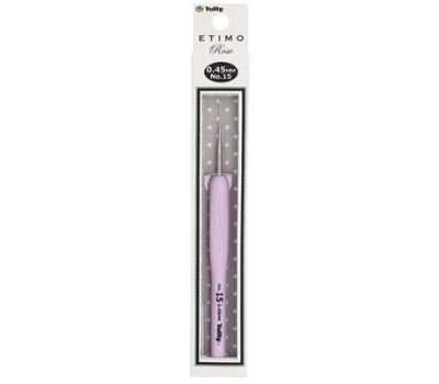 """0,45 TULIP Крючок для вязания с ручкой """"ETIMO Rose"""" 0,45мм, сталь/пластик, золотистый/серебристый/розовый, TEL-15e"""