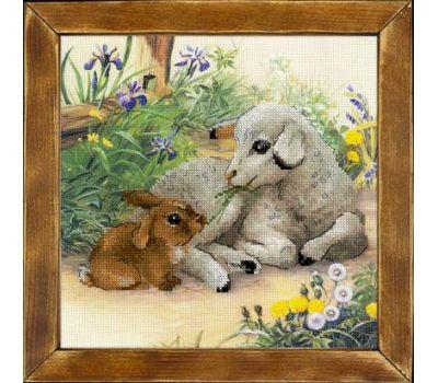 """РТ0051 Набор для вышивания """"Риолис"""" Ягненок и кролик 30х30 см, РТ-0051"""