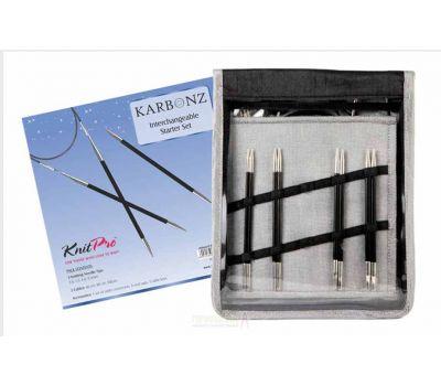 """41621 Knit Pro Набор """"Starter Set"""" съемных спиц """"Karbonz"""" (в наборе: спицы съемные (3мм, 3,5мм, 4мм, 4,5мм), тросик (60см, 80см, 100см), загрушка с ключиком-3пары, кабельное соединение-1набор), карбон, черный, 4 вида спиц в наборе, 416"""