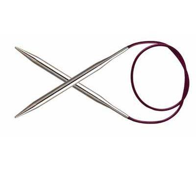 """80/12,0 Knit Pro Спицы круговые """"Nova Metal"""" никелированная латунь, серебристый, №12,0, 11347"""