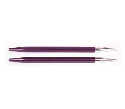 """6,00 Knit Pro Съемные спицы """"Zing"""" 6мм для длины тросика 28-126см, алюминий, фиолетовый бархат, 2шт в упаковке, 47507"""