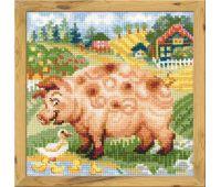 """1523 Набор для вышивания """"Риолис"""" Хуторок, Свинка 20х20 см"""