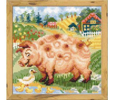 """1523 Набор для вышивания """"Риолис"""" Хуторок, Свинка 20х20 см, 1523"""