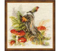 """1545 Набор для вышивания """"Риолис"""" Пенек с мухоморами 30х30 см"""