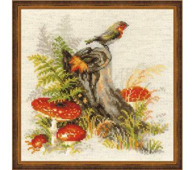 """1545 Набор для вышивания """"Риолис"""" Пенек с мухоморами 30х30 см, 1545"""