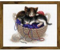 """1724 Набор для вышивания """"Риолис"""" Котята в корзинке 30х24 см"""