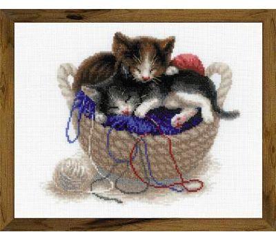 """1724 Набор для вышивания """"Риолис"""" Котята в корзинке 30х24 см, 1724"""