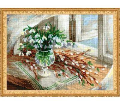 """1641 Набор для вышивания """"Риолис"""" Верба и подснежник 30х21 см, 1641"""