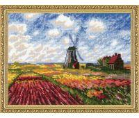 """1643 Набор для вышивания """"Риолис"""" Поле с тюльпанами по мотивам картины К. Моне» 33х25 см"""
