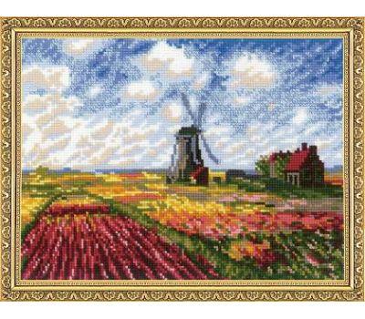 """1643 Набор для вышивания """"Риолис"""" Поле с тюльпанами по мотивам картины К. Моне» 33х25 см, 1643"""