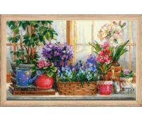 """1669 Набор для вышивания """"Риолис"""" Подоконник с цветами 40х25 см"""