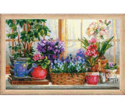 """1669 Набор для вышивания """"Риолис"""" Подоконник с цветами 40х25 см, 1669"""