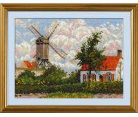 """1702 Набор для вышивания """"Риолис"""" Ветряная мельница в Кноке» по мотивам картины К. Писсарро 33х25 см"""