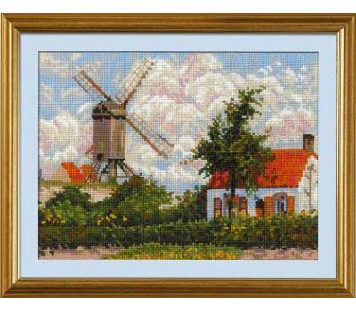 """1702 Набор для вышивания """"Риолис"""" Ветряная мельница в Кноке» по мотивам картины К. Писсарро 33х25 см, 1702"""