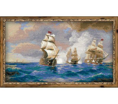 "1154 Набор для вышивания ""Риолис"" Бриг Меркурий, атакованный двумя турецкими кораблями 40х24 см, 1154"
