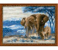 """1144 Набор для вышивания """"Риолис"""" Слоны в саванне 40х30 см"""
