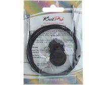10525 Knit Pro Тросик (заглушки 2шт, ключик) для съемных спиц, длина 126 (готовая длина спиц 150)см, черный