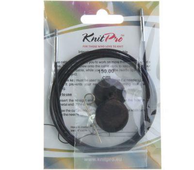 10525 Knit Pro Тросик (заглушки 2шт, ключик) для съемных спиц, длина 126 (готовая длина спиц 150)см, черный, 10525