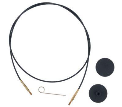 10532 Knit Pro Тросик (заглушки 2шт, ключик) для съемных спиц с золотым напылением 24К, длина 35 (готовая длина спиц 60)см, черный, 10532