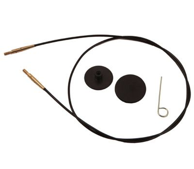 10563 Knit Pro Тросик (заглушки 2шт, ключик) для съемных спиц с золотым напылением 24К, длина 28 (готовая длина спиц 50)см, черный, 10563