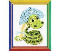 """НВ125 Набор для вышивания """"Риолис"""" Новогодняя змейка 13х16 см"""